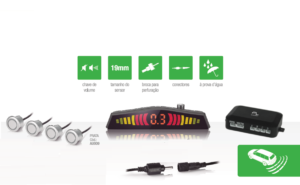 Sensor de Estacionamento Ré Multilaser 4 Pontos Prata Sonoro