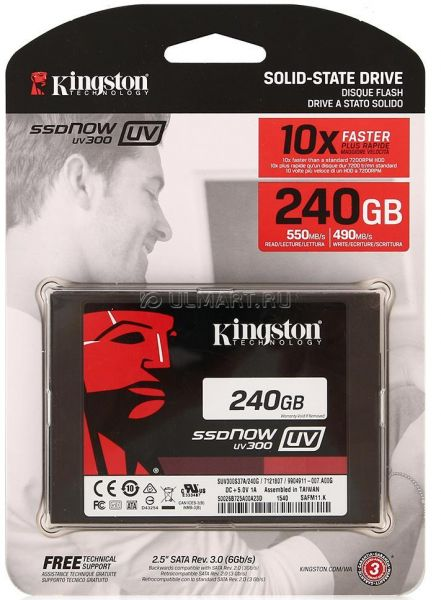 SSD 240GB Kingston 2.5 Sata SSDNOW UV300 10 X Mais Rápido