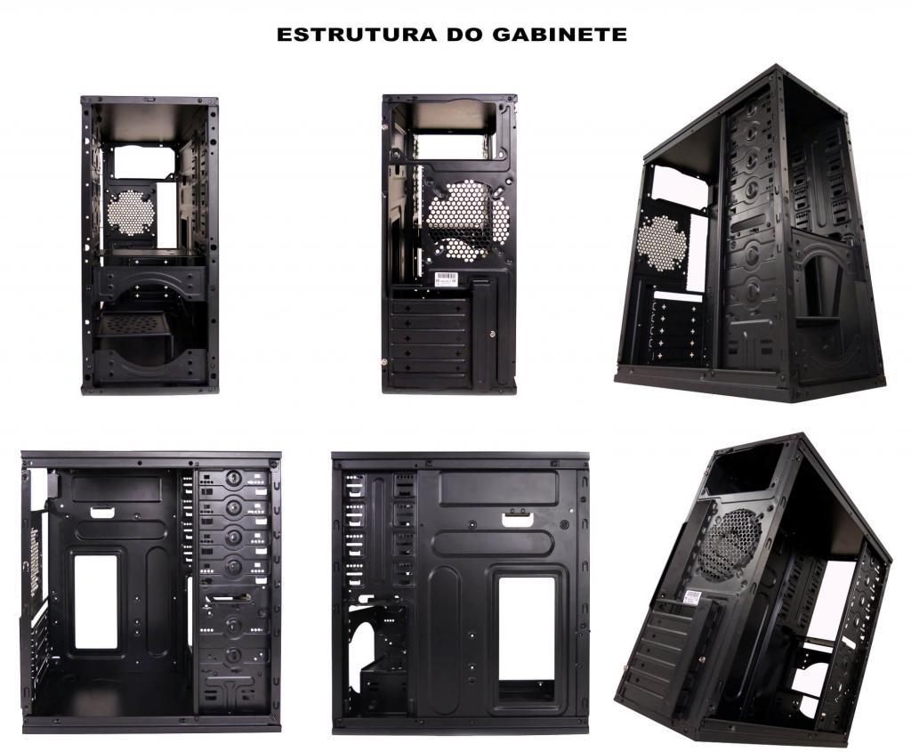 Gabinete Gamer ATX Preto c/ Detalhe Azul USB e Audio Frontal Pixxo HTBS03L06S