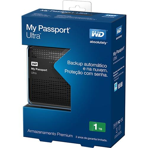HD Externo 1TB Tera Wester Digital USB 3.0 My Passport Ultra