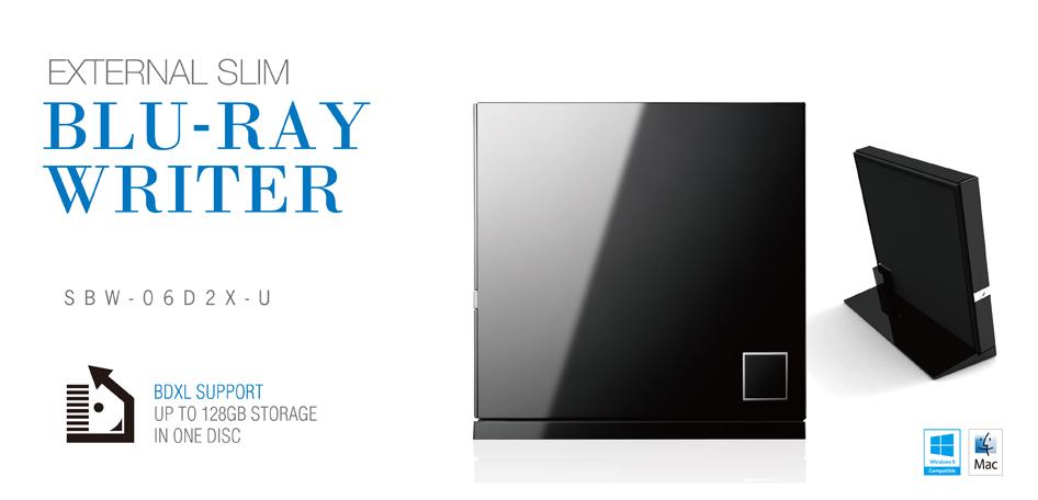 Gravador e Leitor Externo de Blu-ray CD DVD Asus SBW-06D2X-U Design Black Piano
