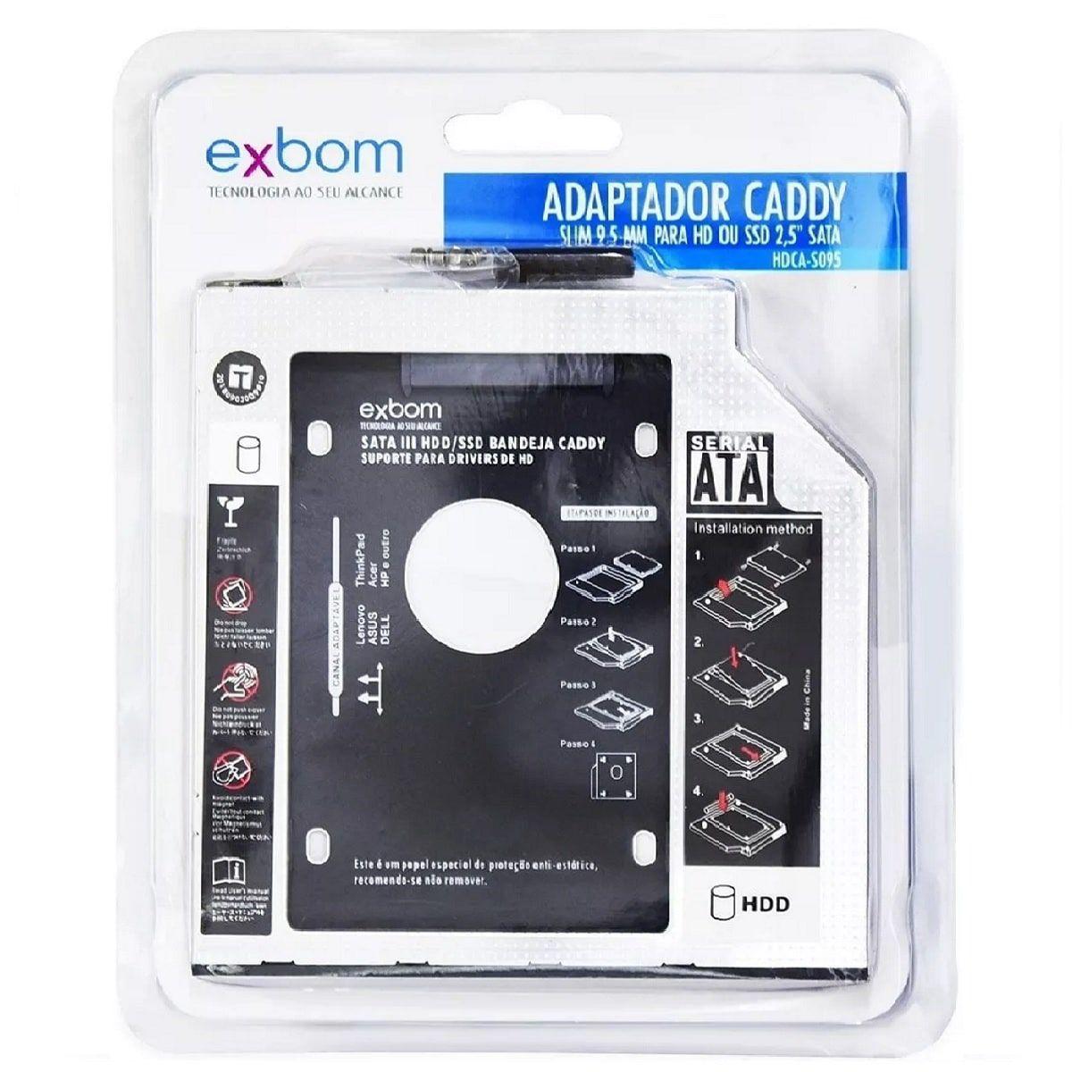 Adaptador Caddy para segundo HD ou SSD 9,5mm Substitui DVD para Notebook EXBOM HDCA-S095
