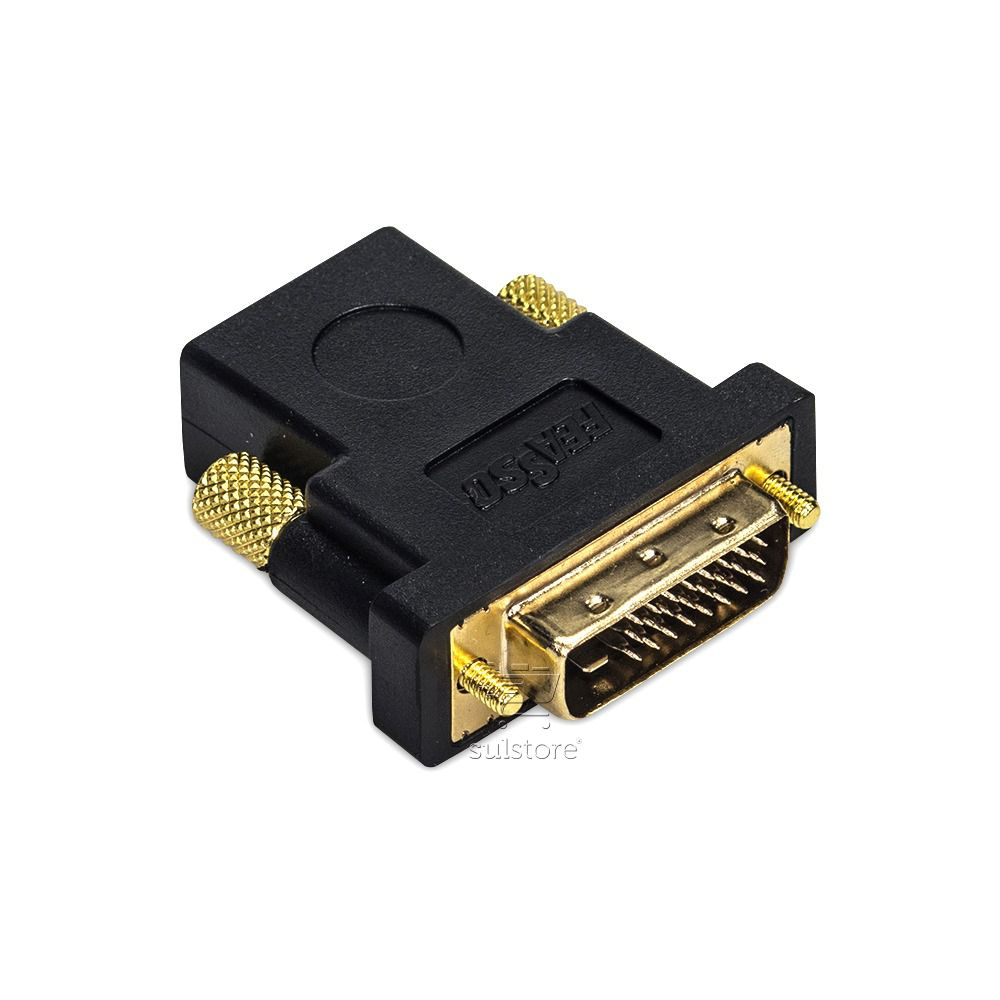Adaptador Conversor DVI-D Dual Link 24+1 Macho X HDMI Fêmea Banhado Ouro Feasso FCA-11A