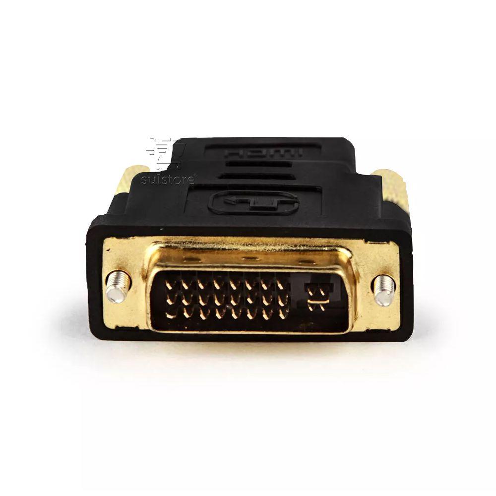 Adaptador Conversor DVI-I Dual Link 24+5 Macho X HDMI Fêmea Banhado Ouro Feasso FCA-11B