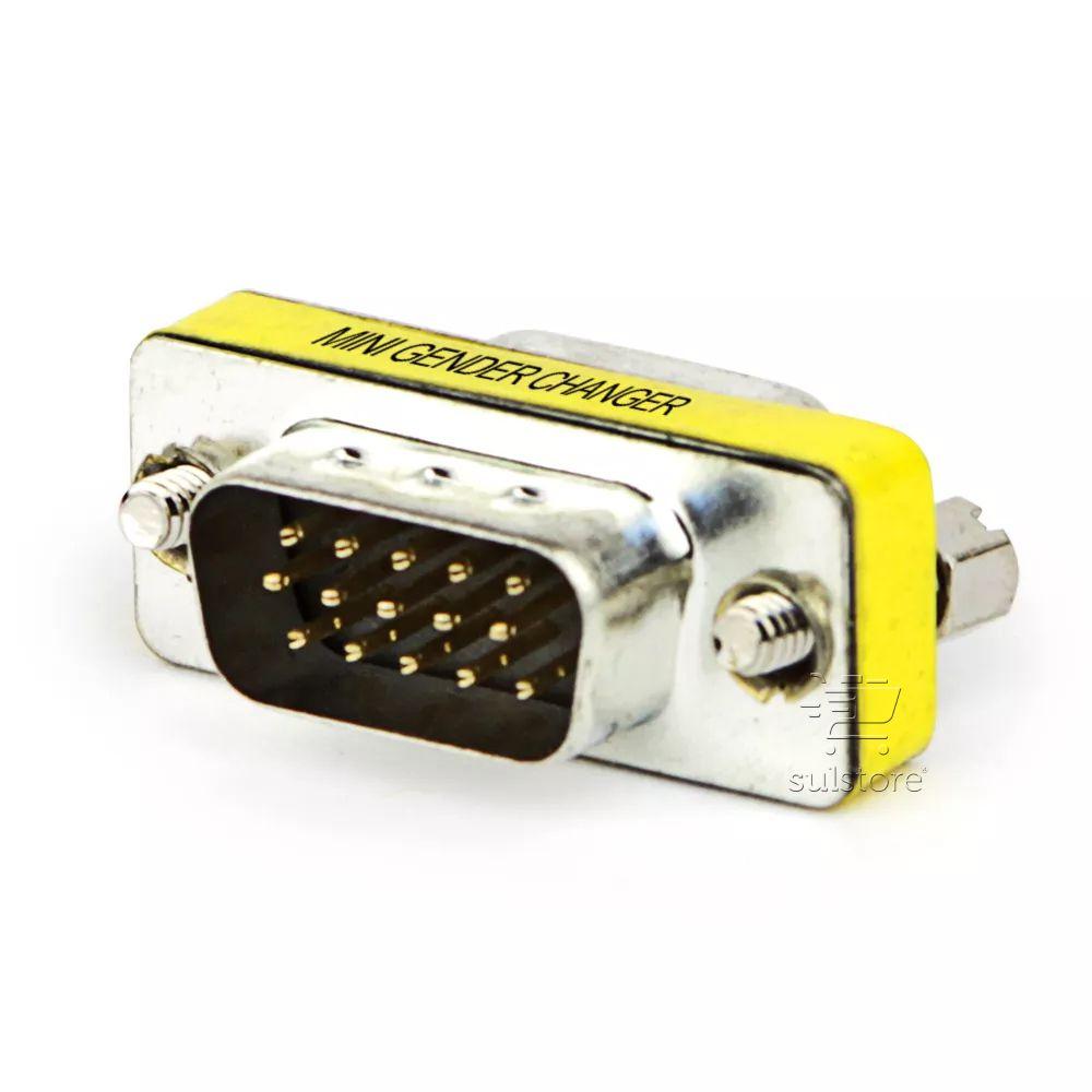 Adaptador Emenda DB15 Pinos Macho X Macho Para Cabos VGA RGB Feasso FCA-09