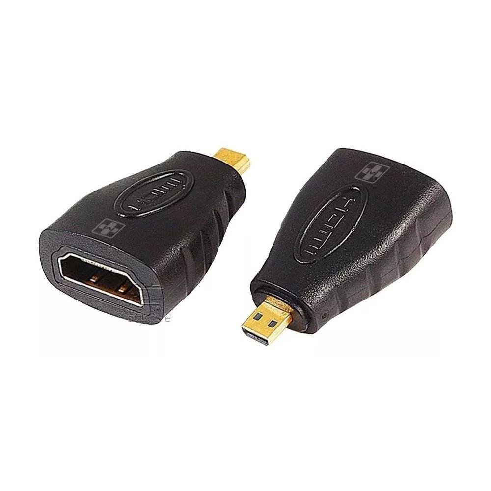 Adaptador HDMI Fêmea Para Micro HDMI Macho Preto MM902 Mais Mania