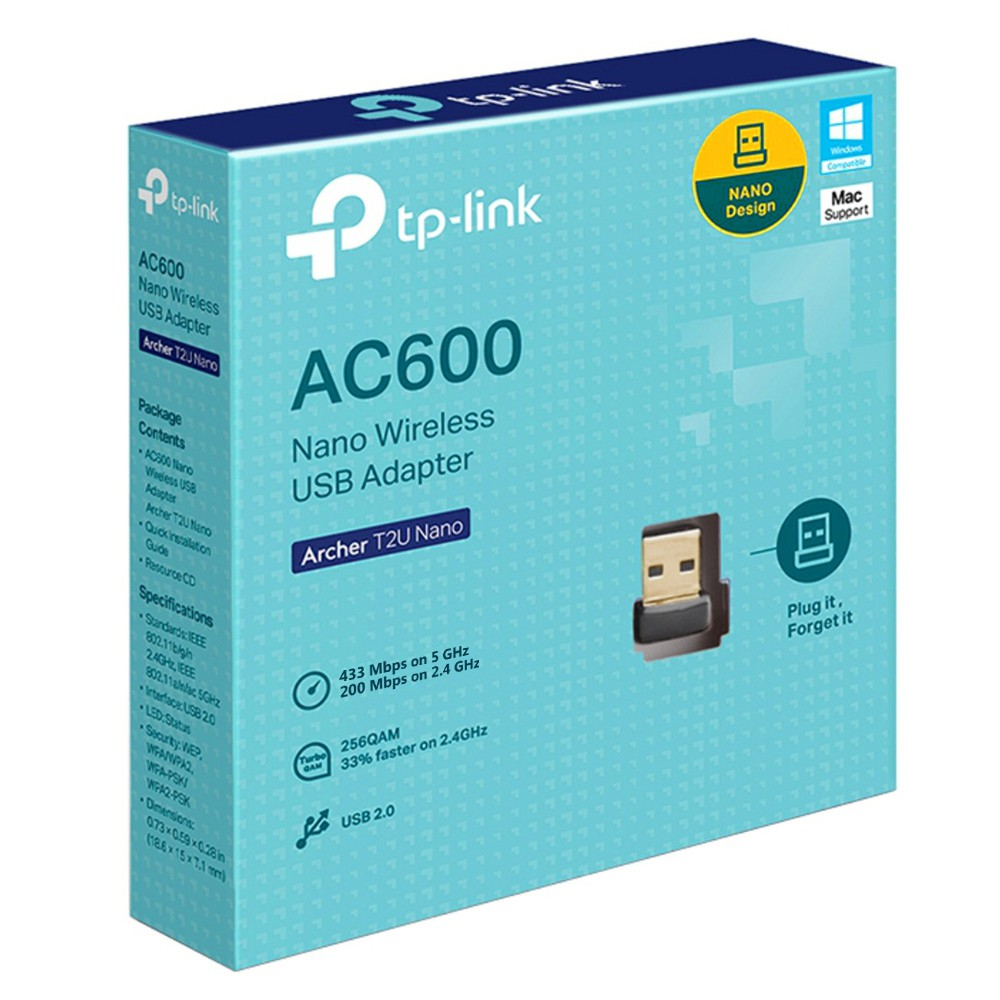 Adaptador Wireless Archer T2U TP Link Dual Band AC600 Nano USB