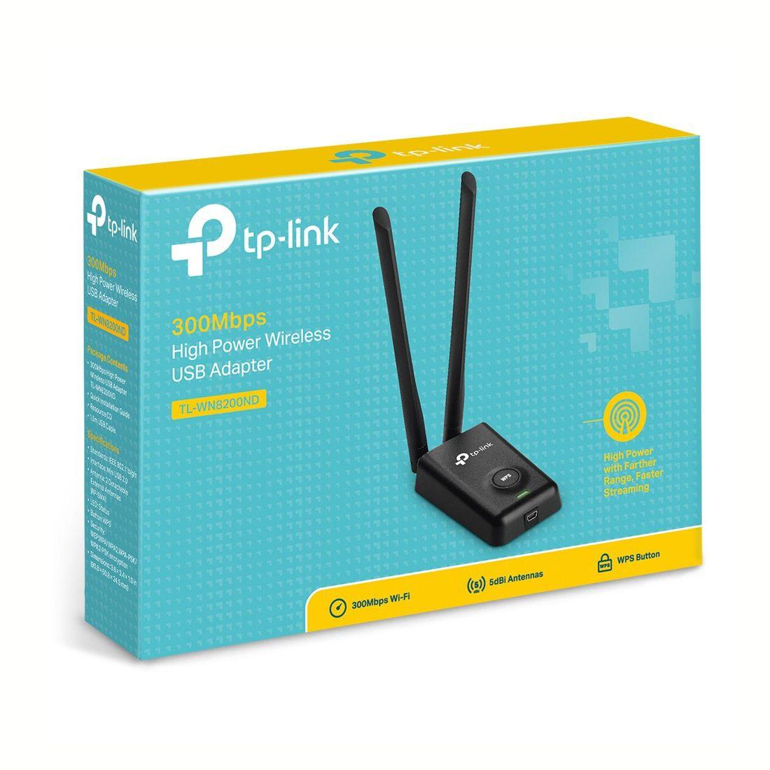 Adaptador Wireless USB Alta Potência TP-Link TL-WN8200ND Antena 5dBi 300mbps