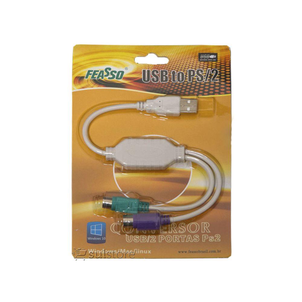 Cabo Adaptador De Teclado e Mouse PS2 para USB JCA-02 Feasso