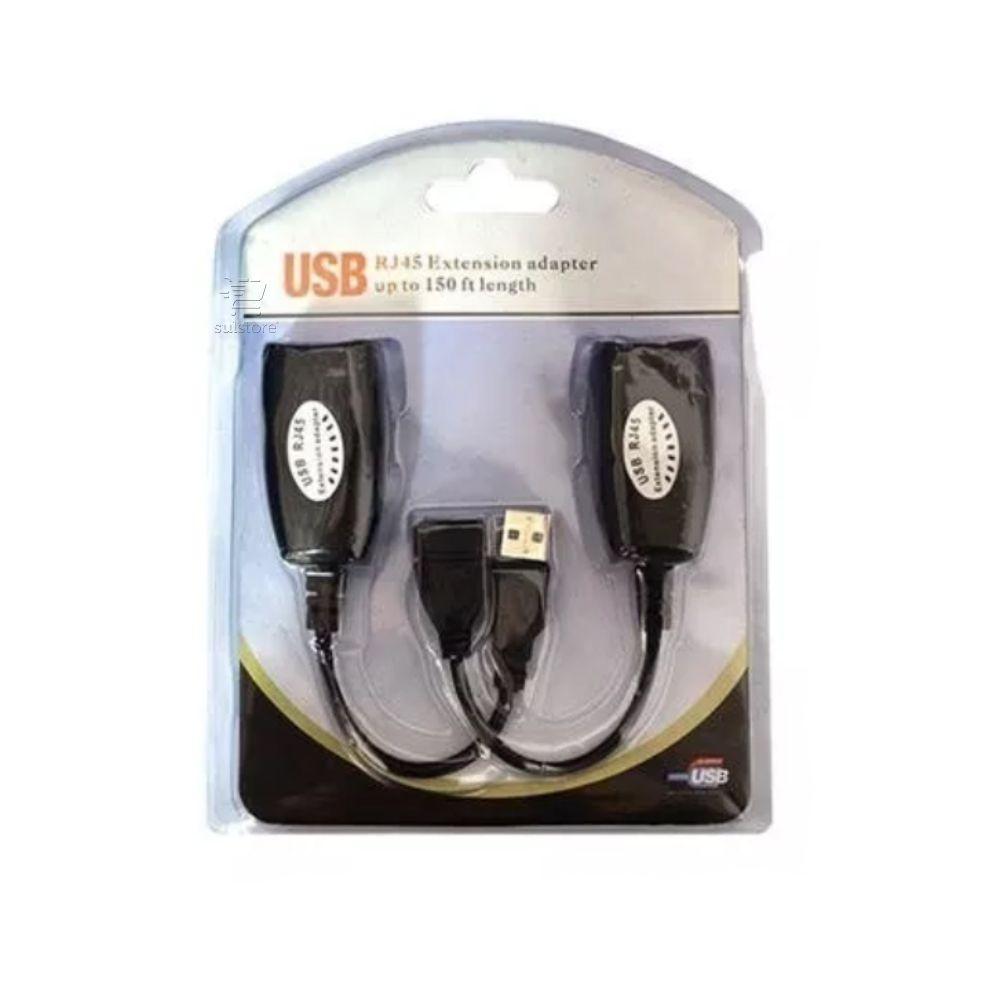 Cabo Adaptador Extensor USB Através de Cabo de Rede Rj45 Até 45 Metros