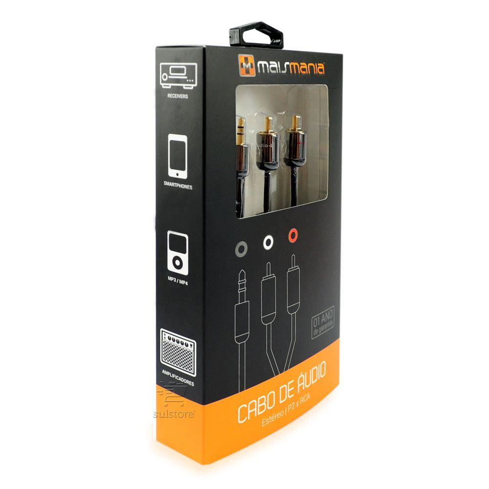 Cabo Conversor Áudio Plug P2 Macho Para 2 RCA Estéreo Macho 1,8 Metros Banhado a Ouro Mais Mania MM876