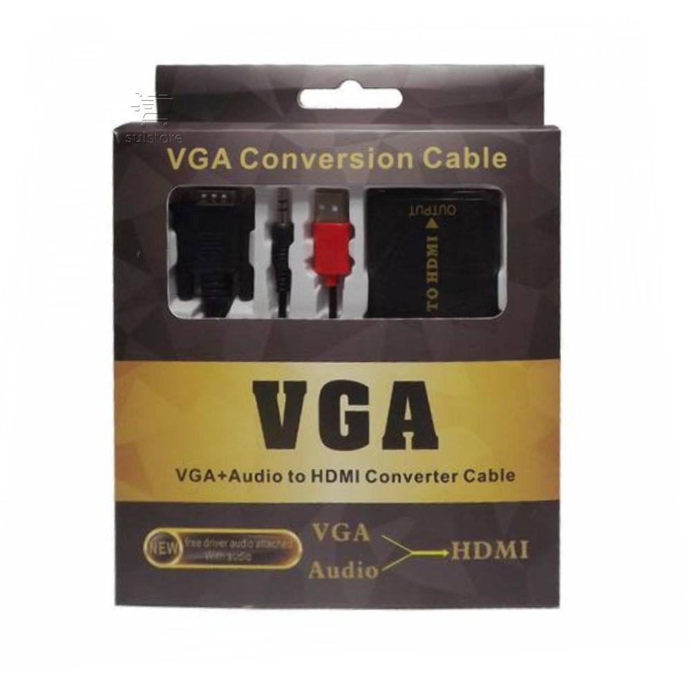 Cabo Conversor De Vídeo VGA Macho Com Audio P2 Para HDMI Fêmea Com Alimentação USB Empire 4452