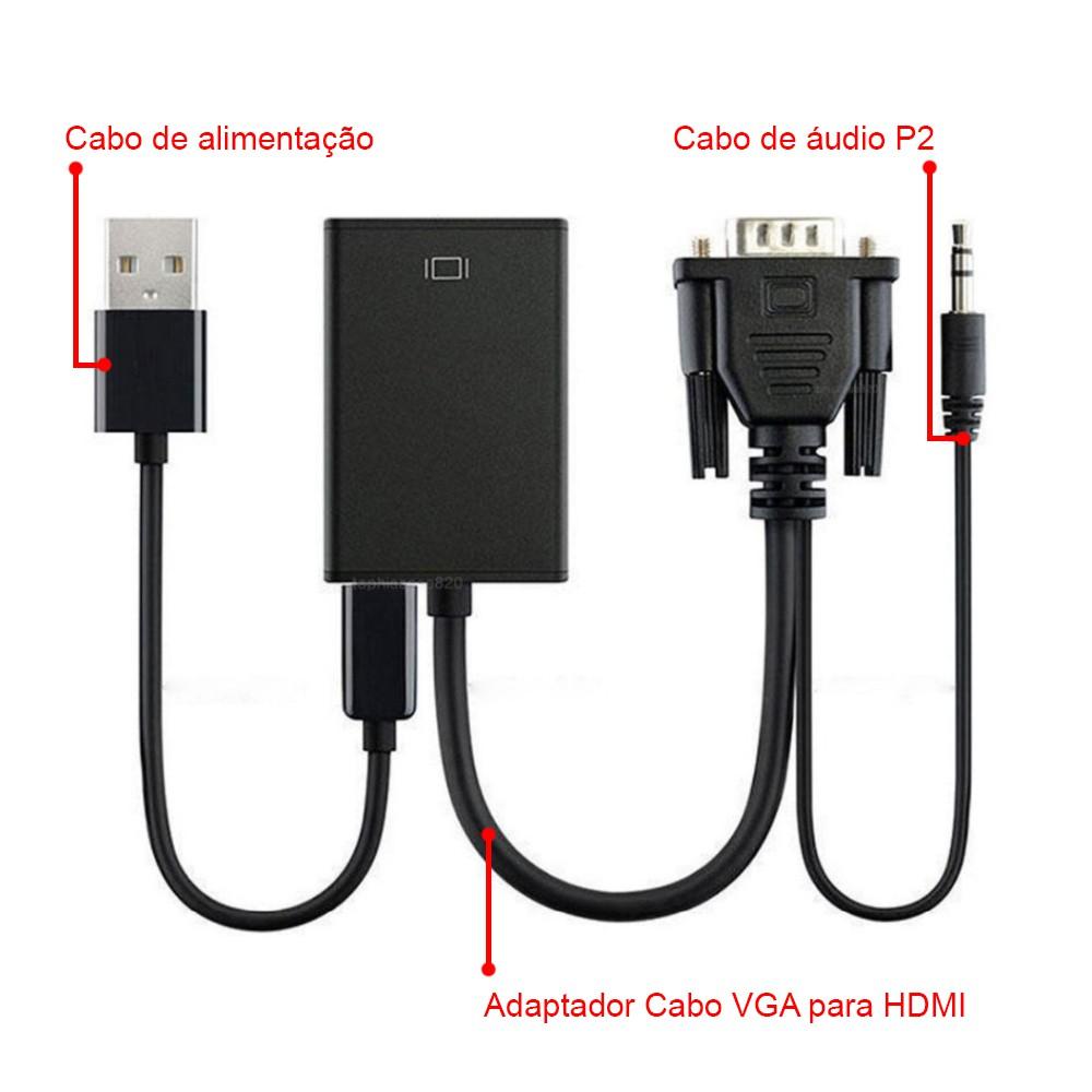 Cabo Conversor De Vídeo VGA Macho Com Audio P2 Para HDMI Fêmea Com Alimentação USB Exbom CC-VHA30