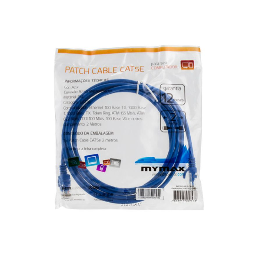 Cabo de Rede Cat6 Patch Cable 2 Metros Mymax Azul