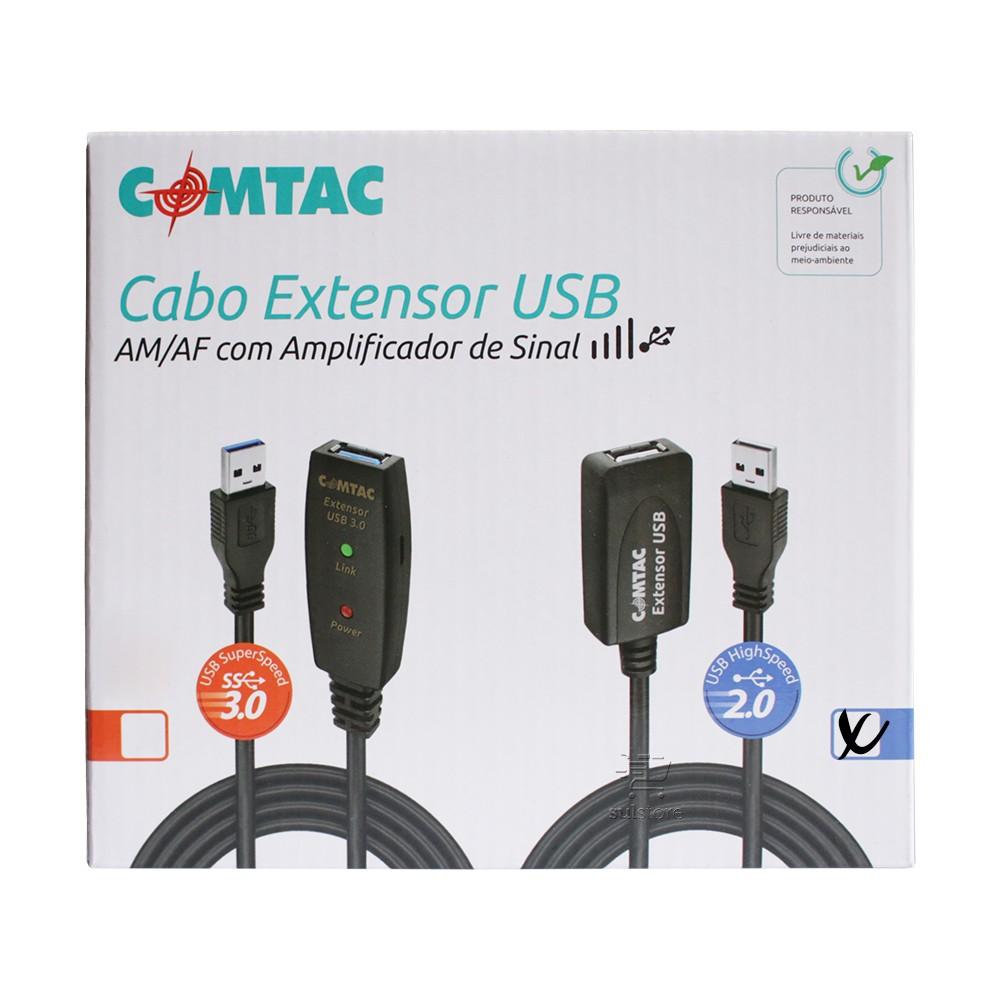 Cabo Extensor Usb 2.0 10 Metros Com Amplificador De Sinal Comtac 9157