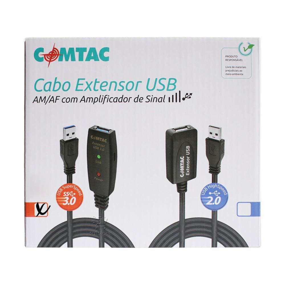 Cabo Extensor USB 3.0 Ativo Repetidor Macho X Fêmea 20 Metros Comtac 9376