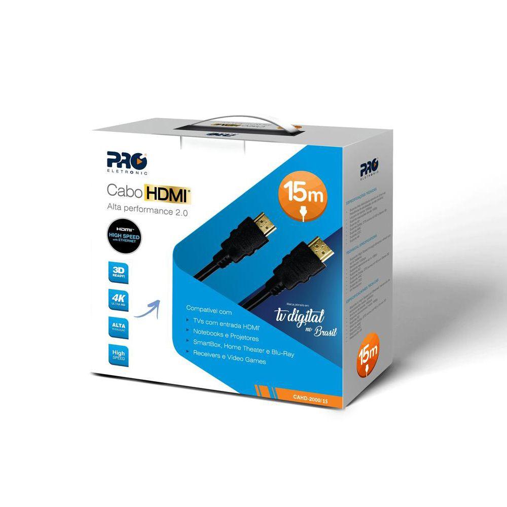 Cabo HDMI 15 Metros Versão 2.0 FULL HD 4K 3D READY PRO Eletronic CAHD-2000/15