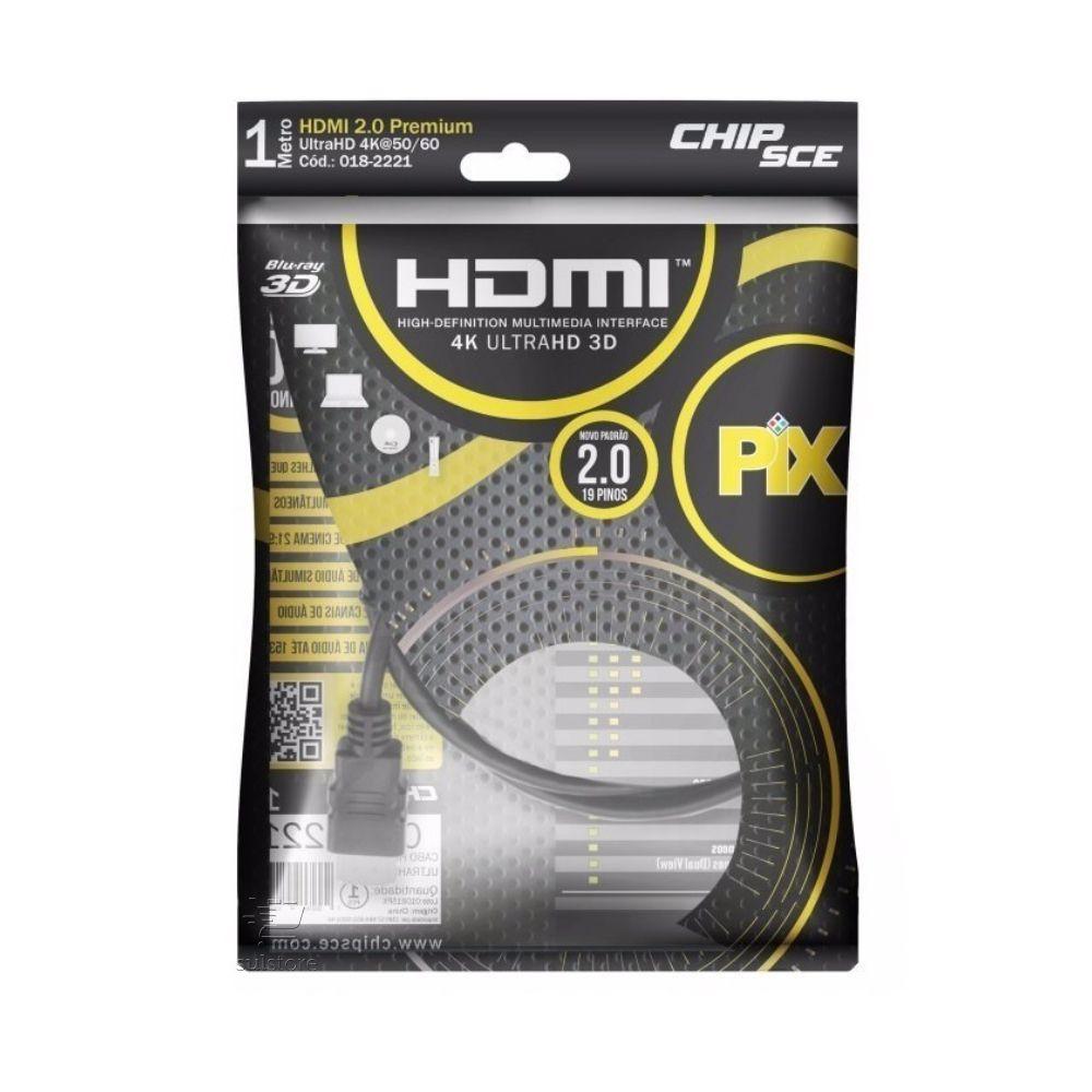 Cabo HDMI 1m 1 Metro Versão 2.0 4k 19 Pinos Blindado Pix 018-2221