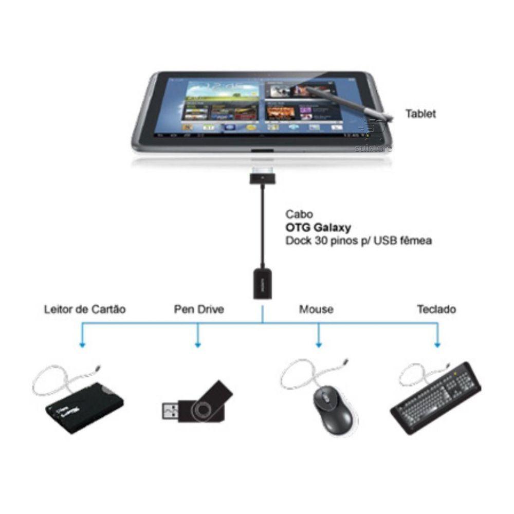 Cabo Otg 30 Pinos Galaxy Tab Notebook P/ Usb Liga Pendrive 9238 Comtac