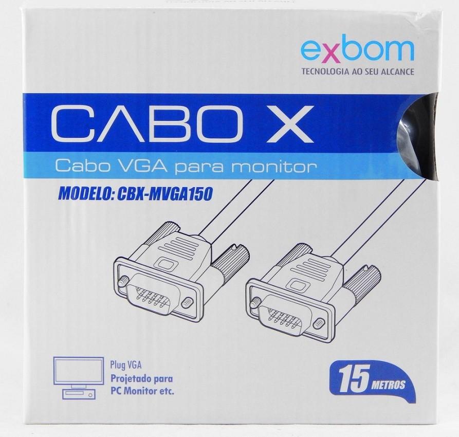 Cabo VGA Para Monitor Macho x Macho 15 Metros Exbom CBX-MVGA150