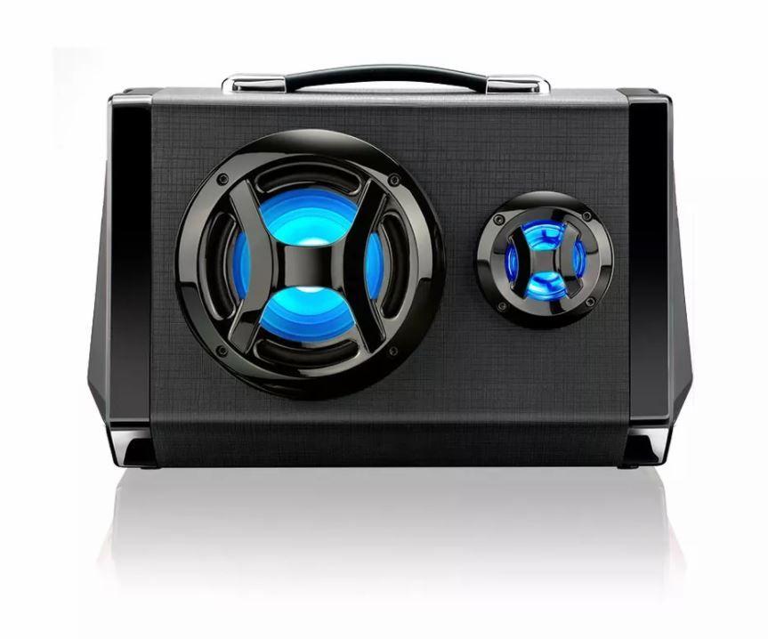 Caixa De Som Portátil Amplificada LED Bluetooth Multilaser SP217 USB P2 Com Microfone Outlet