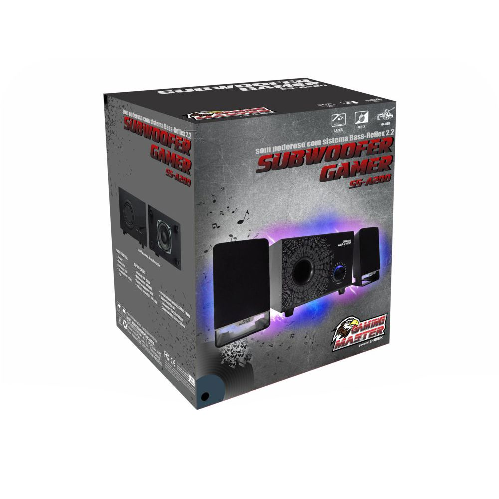 Caixa de Som Subwoofer Gamer 2.1 16W SS-A200 K-Mex Gaming P2 e USB