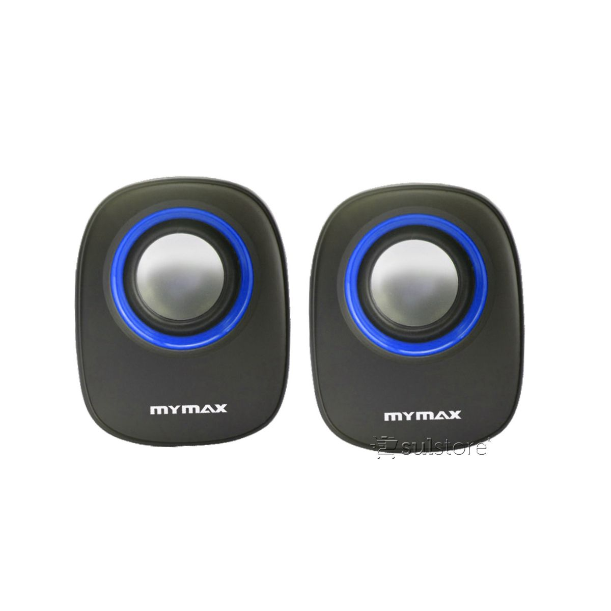 Caixa De Som USB P2 Mymax 6w Rms SPK-SP205/BL Preto Com Detalhe Azul