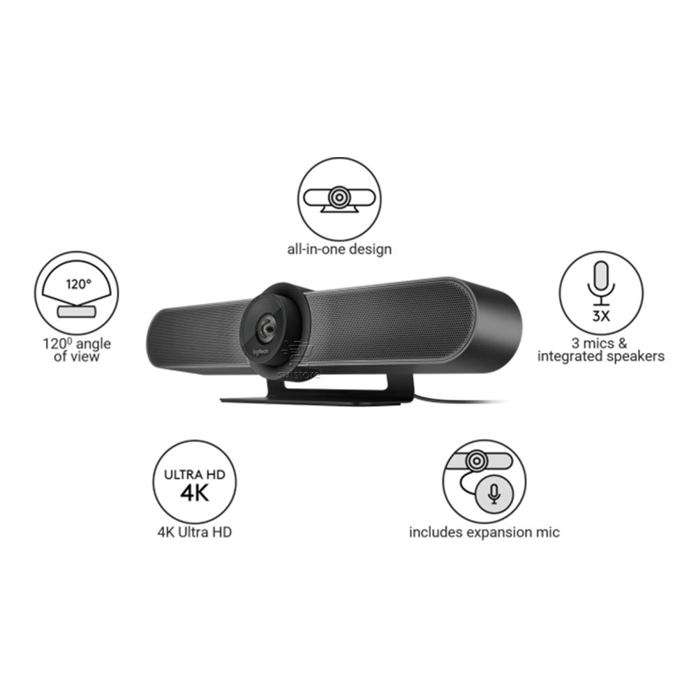 Câmera Grande de Videoconferência Logitech Meetup Web Cam 4K Vídeo De Alta Definição Com Rightsight