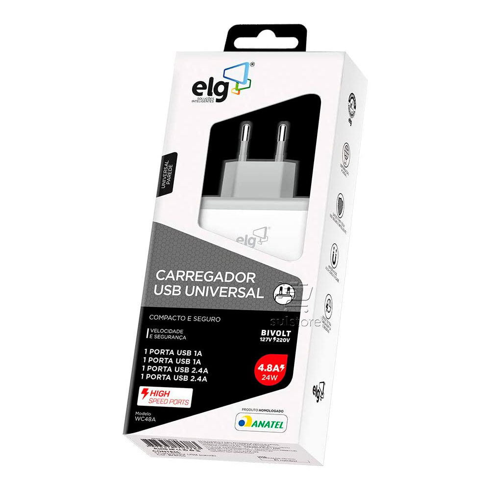 Carregador Compacto Turbo 4 x USB 24w 4,8A com Certificação Anatel WC48A ELG