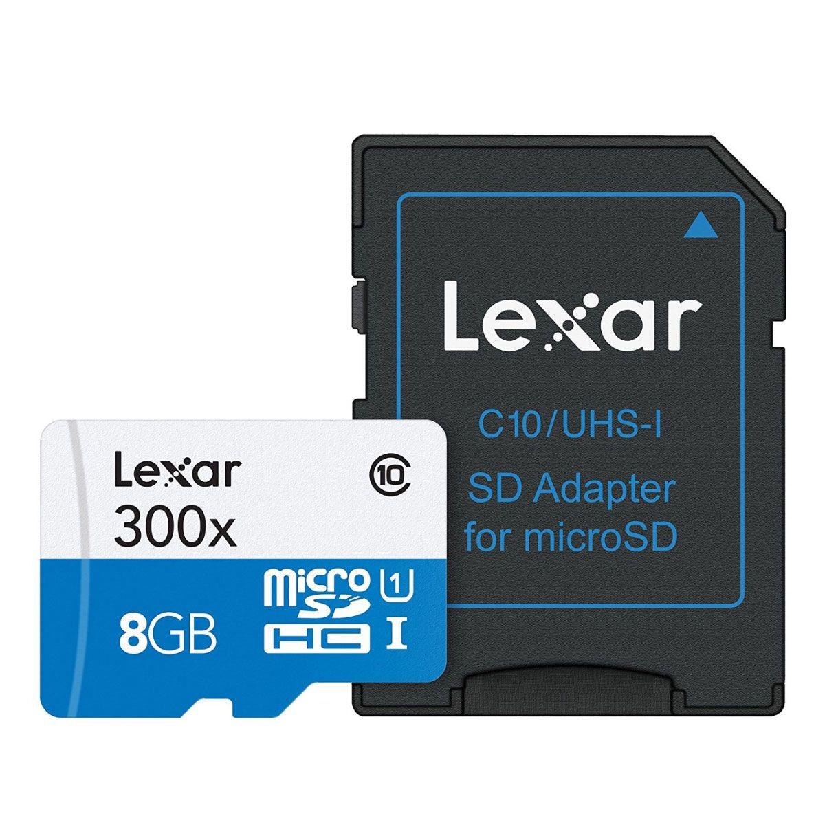 Cartão de Memória 8GB Micro SD Classe 10 com Adaptador SD Lexar LSDM18GBBBNL300A