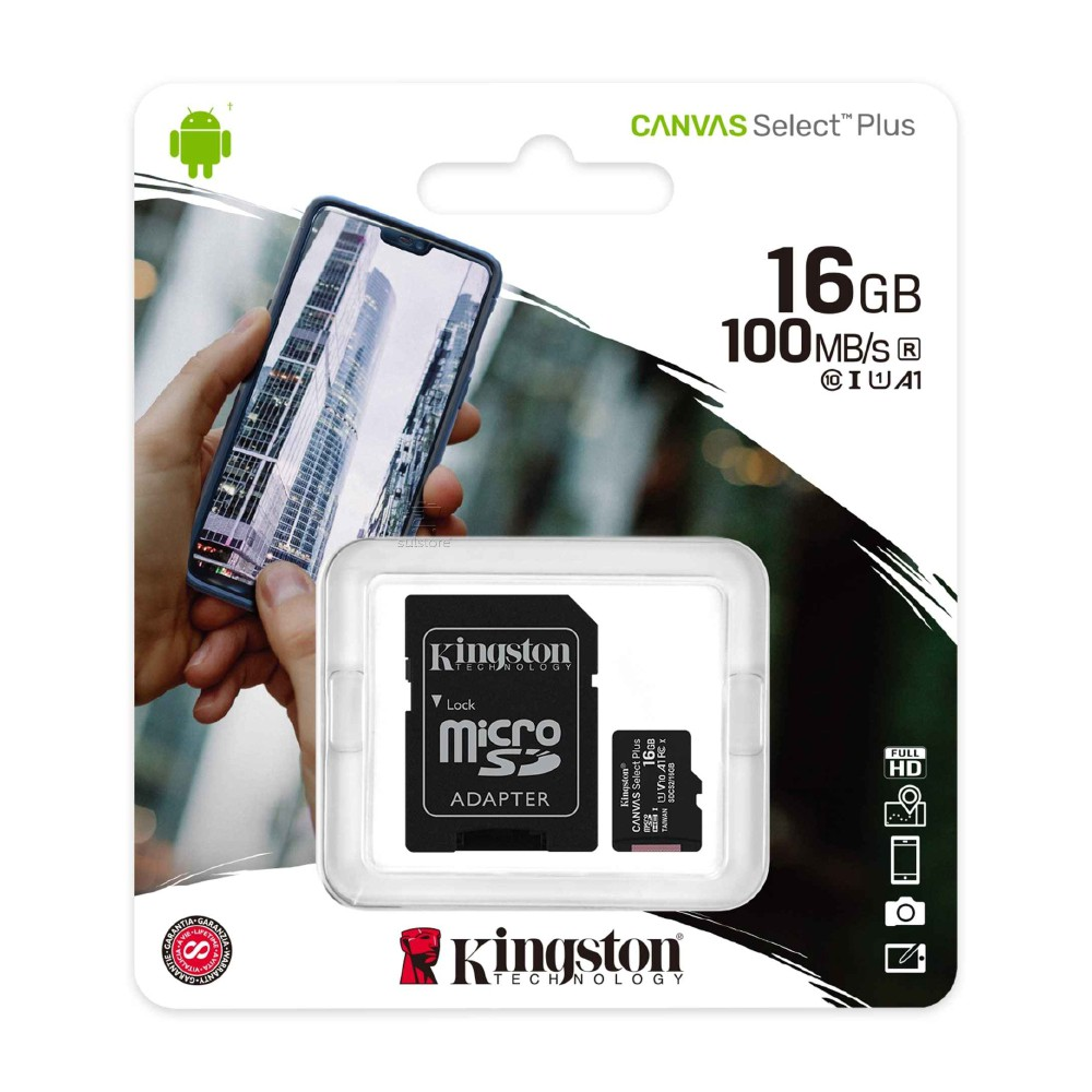 Cartão de Memória Micro SD 16GB Classe 10 100mb/s Kingston Canvas Select Plus SDCS2/16GB