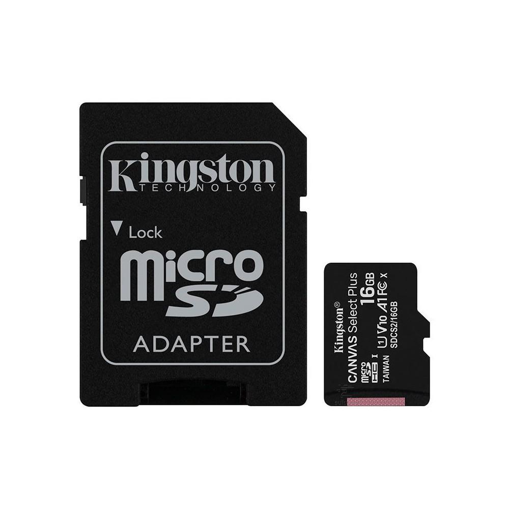Cartão de Memória Micro SD 16GB Classe 10 100mb/s Kingston Canvas Select Plus SDCS2/16GB