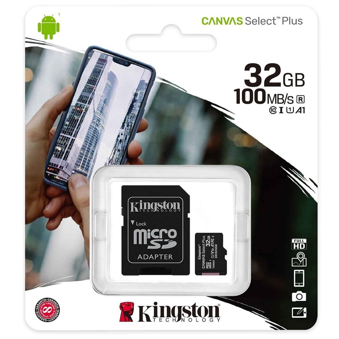 Cartão de Memória Micro SD 32GB Classe 10 100mb/s Kingston Canvas Select Plus SDCS2/32GB
