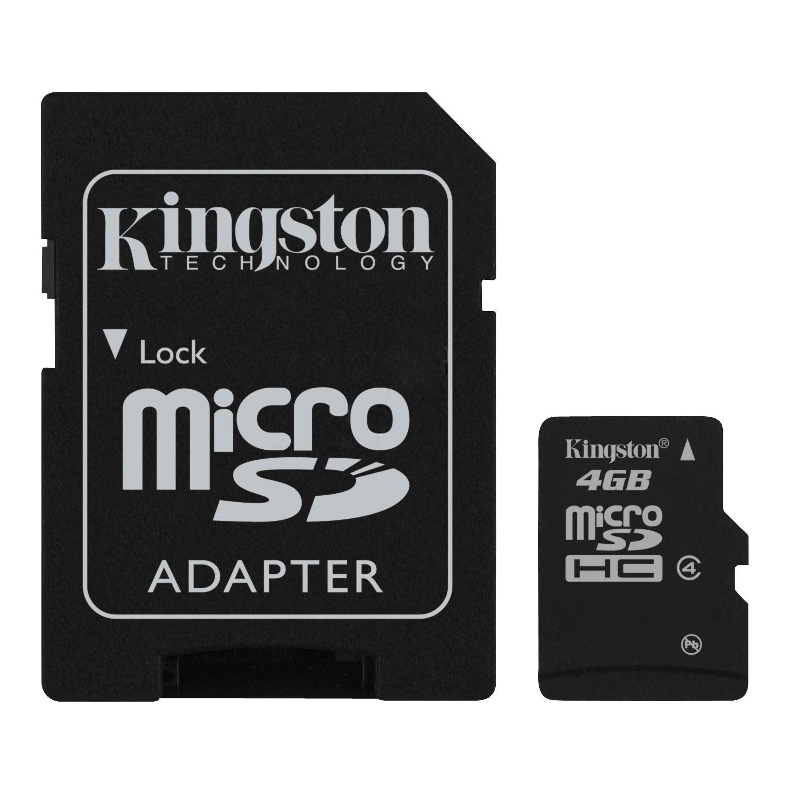 Cartão de Memória Micro SD 4GB Kingston Com Adaptador SD Classe 4 SDC4/4GB