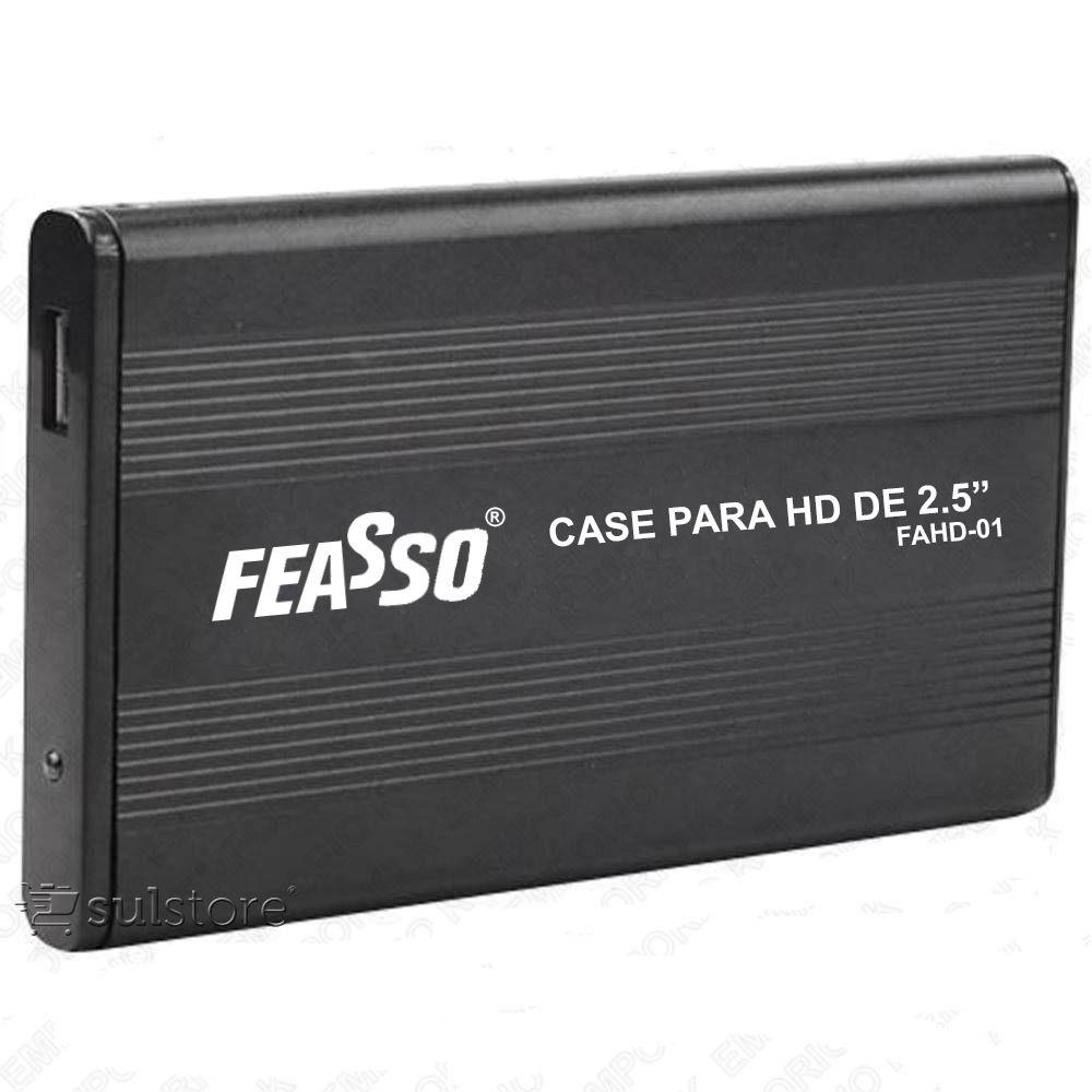 Case Gaveta Para HD 2,5 SATA de Notebook Sata USB 2.0 Preto Alumínio Feasso FAHD-01