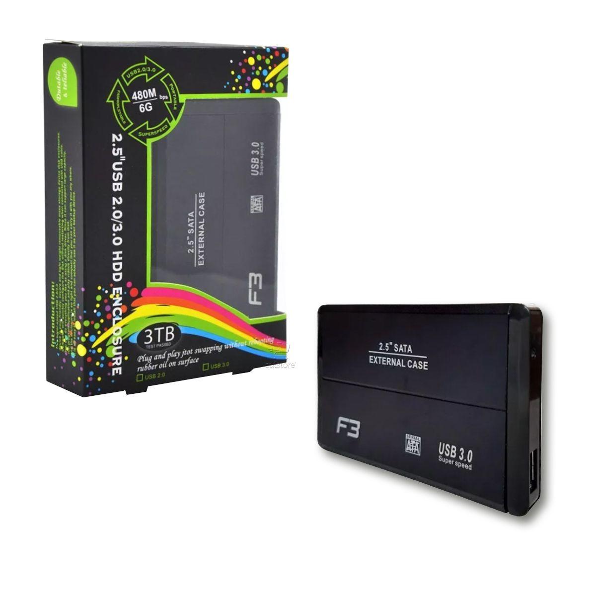 Case Gaveta USB 3.0 6gbps Sata Para HD Notebook Até 4TB 2,5 F3