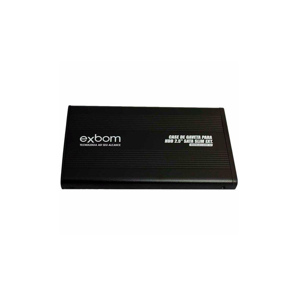 Case para HD de Notebook 2,5 Sata Gaveta Slim em Alumínio CGHD-10 Preto Exbom