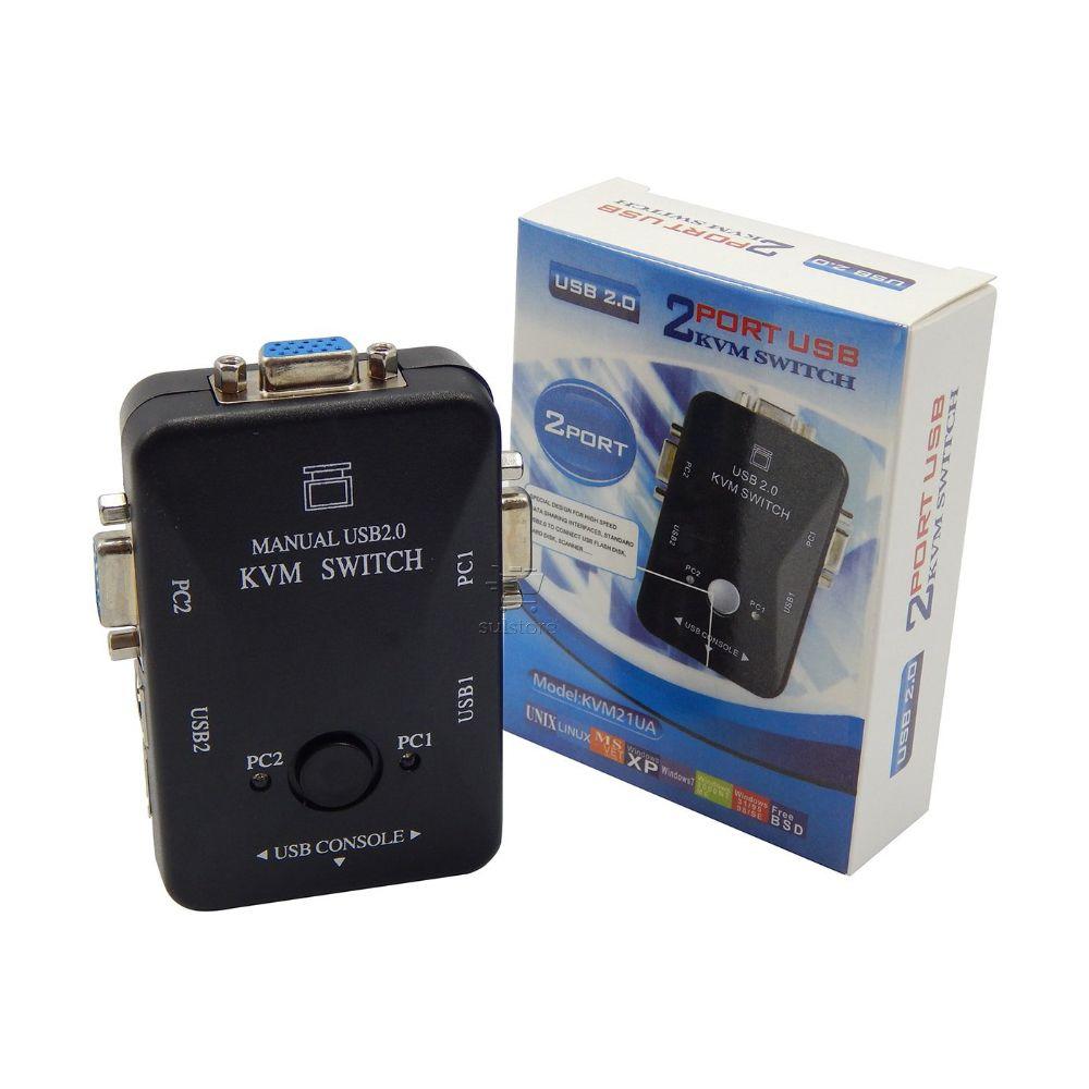 Chaveador KVM USB Switch VGA 2 Portas - 2 PC ligado em 1 Monitor KVM21UA