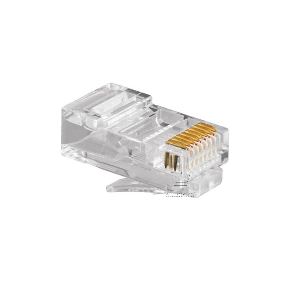 Conector de Rede Plug RJ45 8x8 CAT5E 062-0045 Chip SCE Pacote com 100 Peças