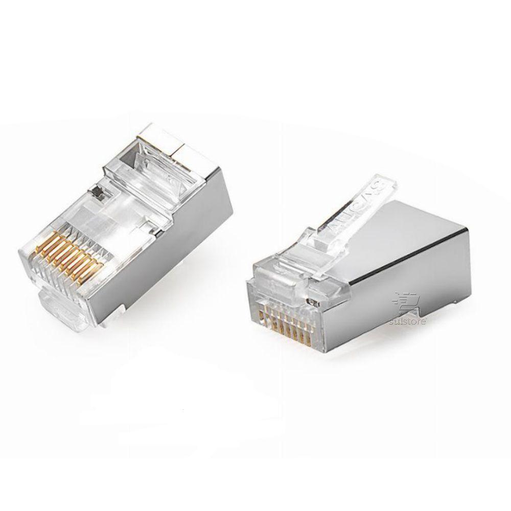 Conector de Rede Plug RJ45 8x8 CAT5E Blindado 062-0047 Chip SCE Pacote com 100 Peças Metal