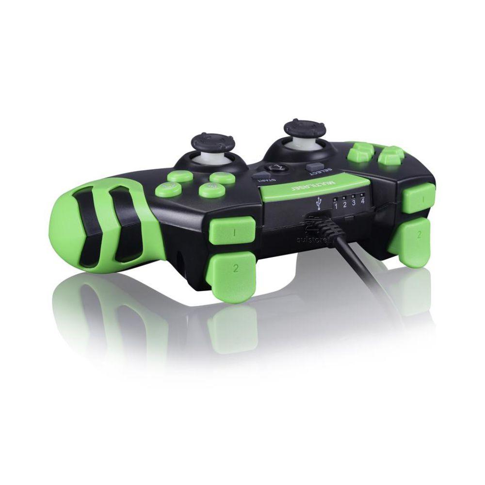 Controle Joystick Gamer Pad USB Multilaser JS091 para PS3 e PC Preto com Verde