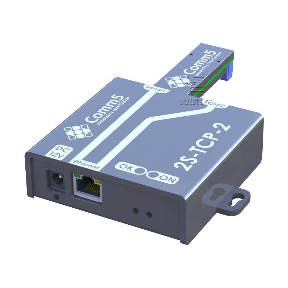 Conversor de Rede Para 1 Saída Serial RS232 e 1 Serial RS485 Comm5 2S-TCP-485-2