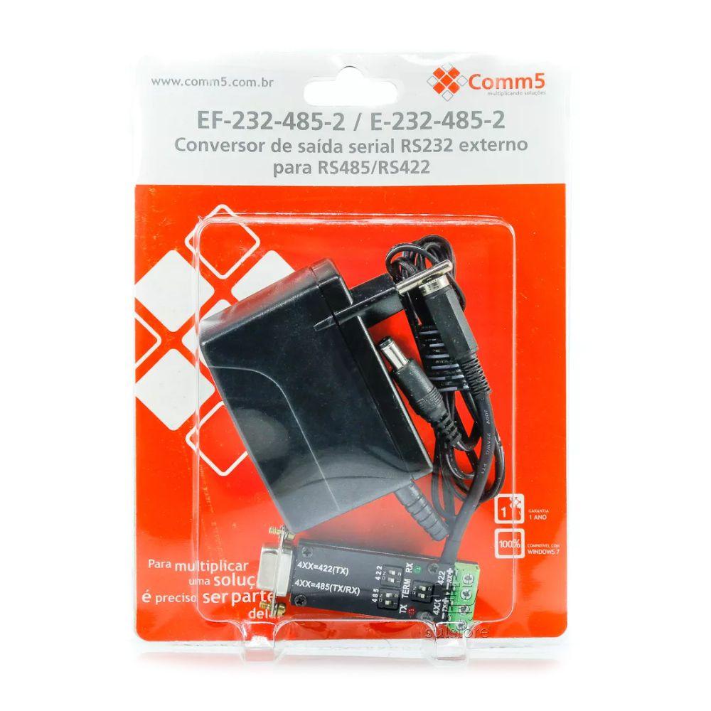 Conversor de Saída Serial RS232 Externo Para RS485/RS422 Com Fonte Comm5 EF-232-485