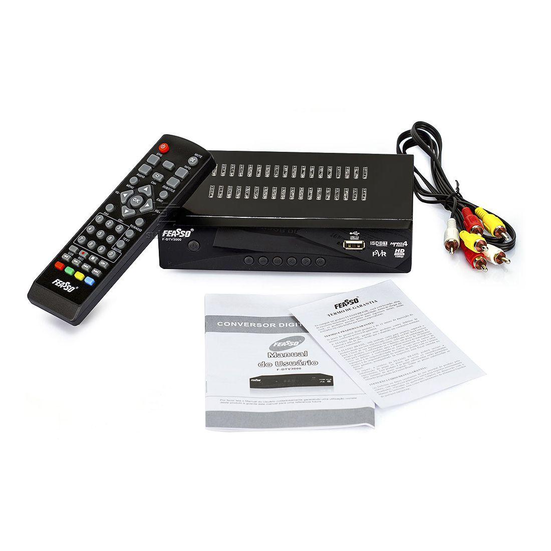 Conversor de TV Digital Função Gravador F-DTV3000 Feasso Grava no PenDrive