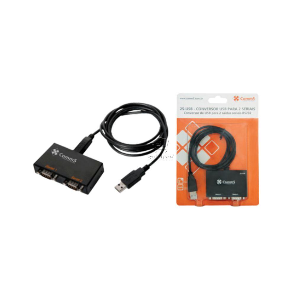 Conversor de USB Para 2 Saídas Seriais RS232 Comm5 2S-USB