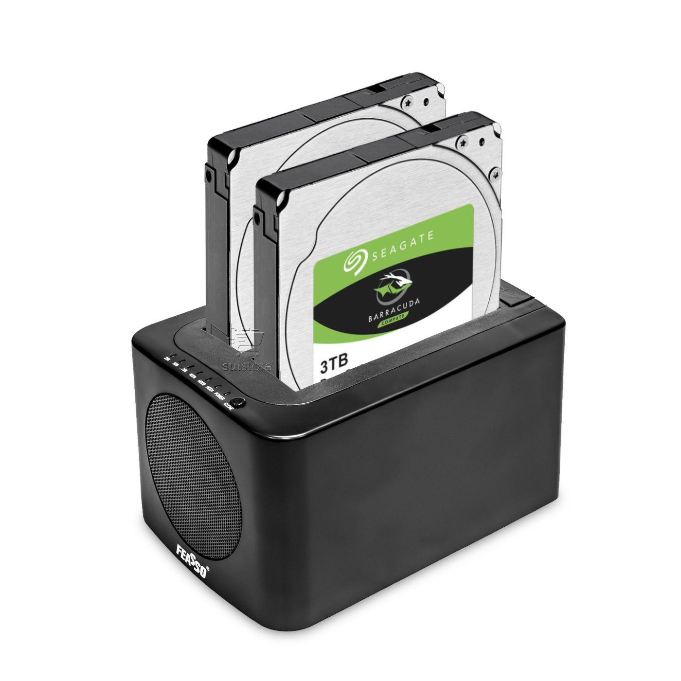 Dock Station Para HD SSD Sata 3 USB 3.0 Clone FAHD-35 Feasso Com Cooler