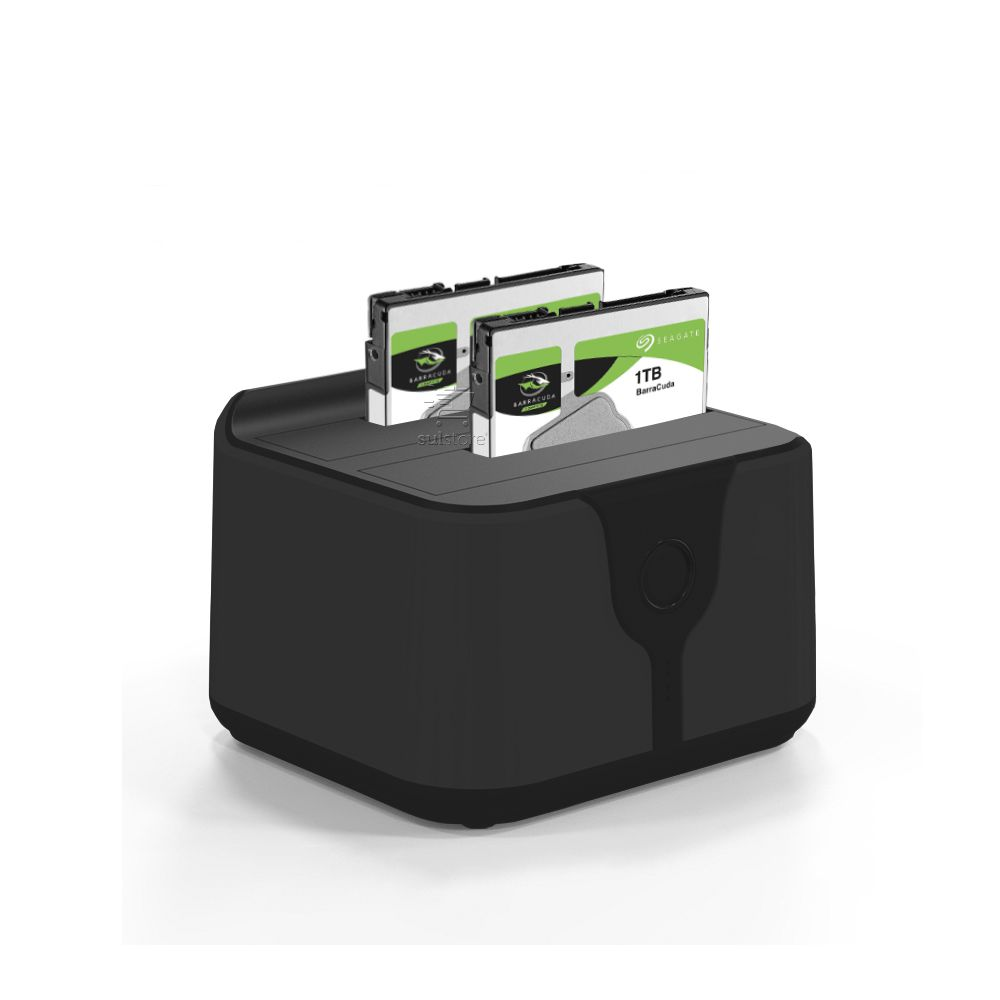 Dock Station USB 3.0 Para 2 HD Sata 2.5 e 3.5 PC com Botão Clone Backup Preto Mymax MDCK-HD05U3/BK-1