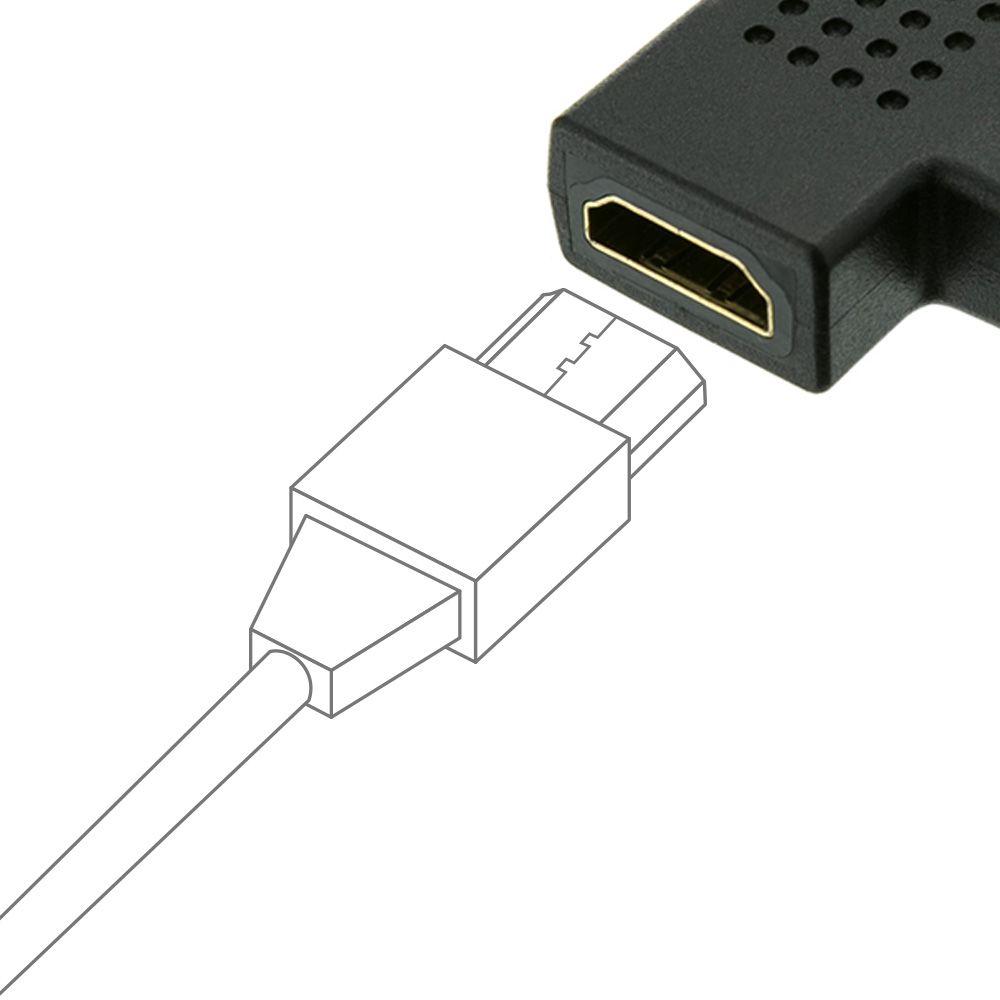 Emenda HDMI Adaptador 90 Graus HDMI Macho x Fêmea em L Mais Mania 904