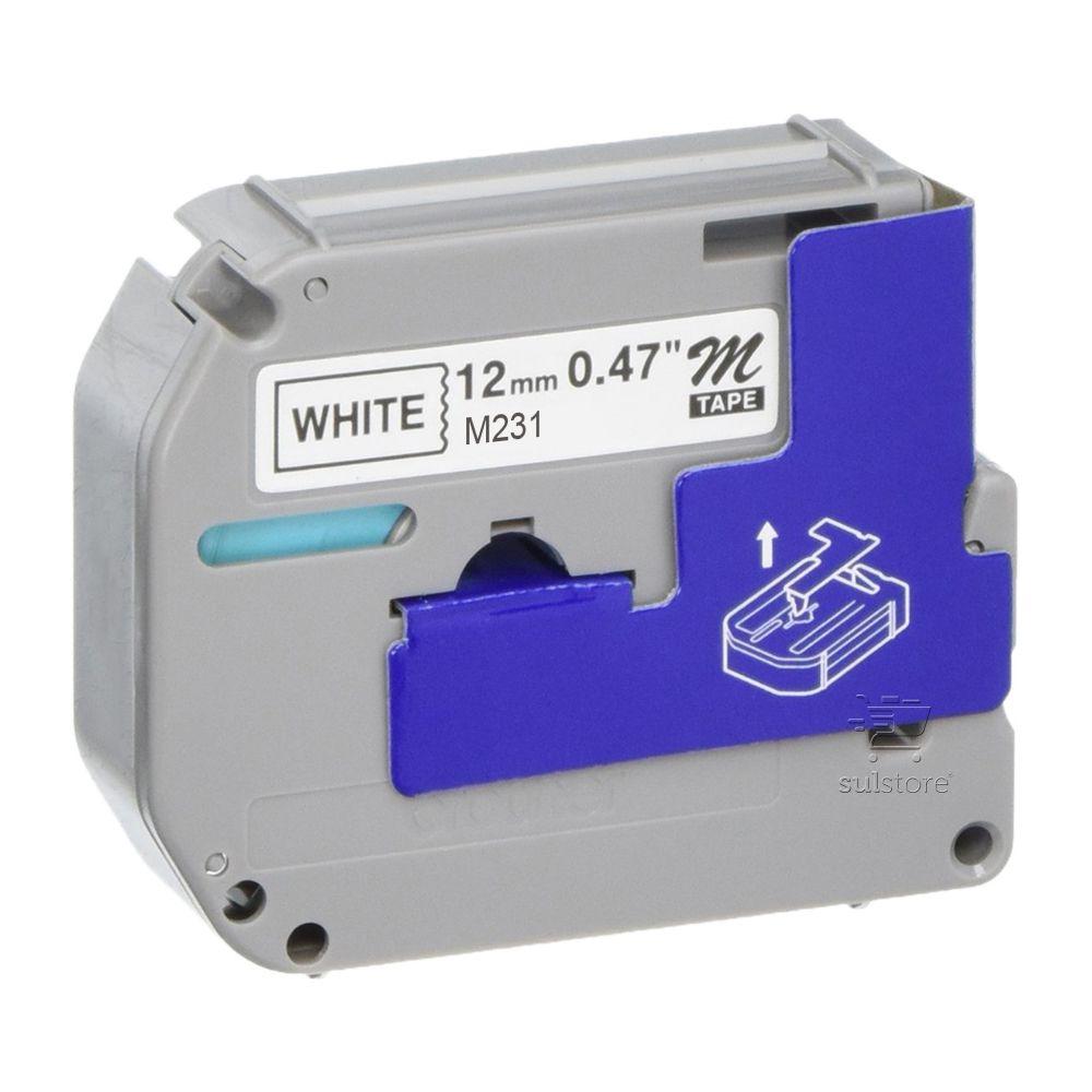 Fita para Rotulador Brother PT65 PT70 PT70BM PT80 M-231 M-K231 12mm x 8 Metros Preto e Branco