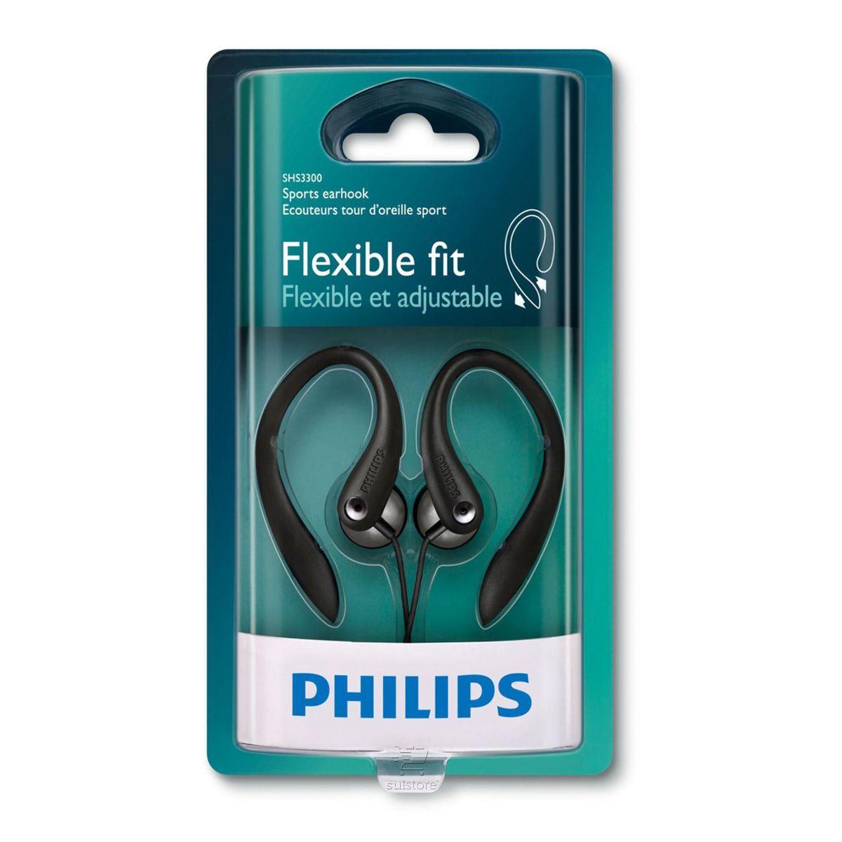 Fone De Ouvido Preto Philips SHS3300BK/10 Esportivo Gancho Flexível